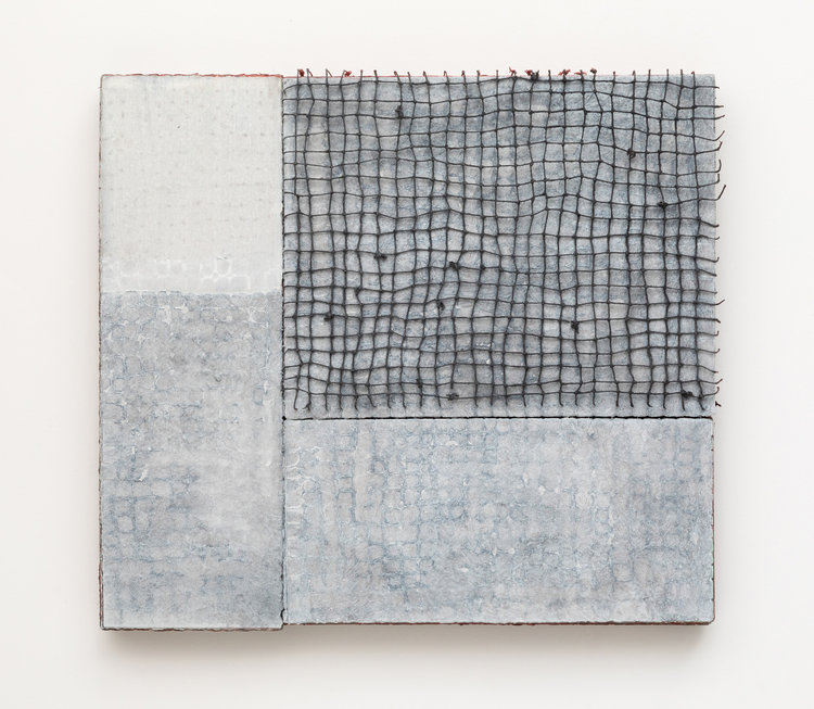 Dark Corner, 2019, paper, gouache, string, 12 x 13 in, $1,900