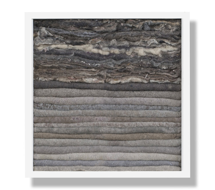 Tectonic Lint, 2014, lint and wood, 13 x 13 x 3.5 in, $2,800