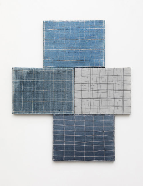 Three Blues and a Grey, 2019, watercolor on paper, string, 27 x 24 in, $3,200