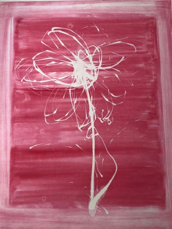 Pink Flower, 2018, monotype, 41 x 33 in (framed) $1,700