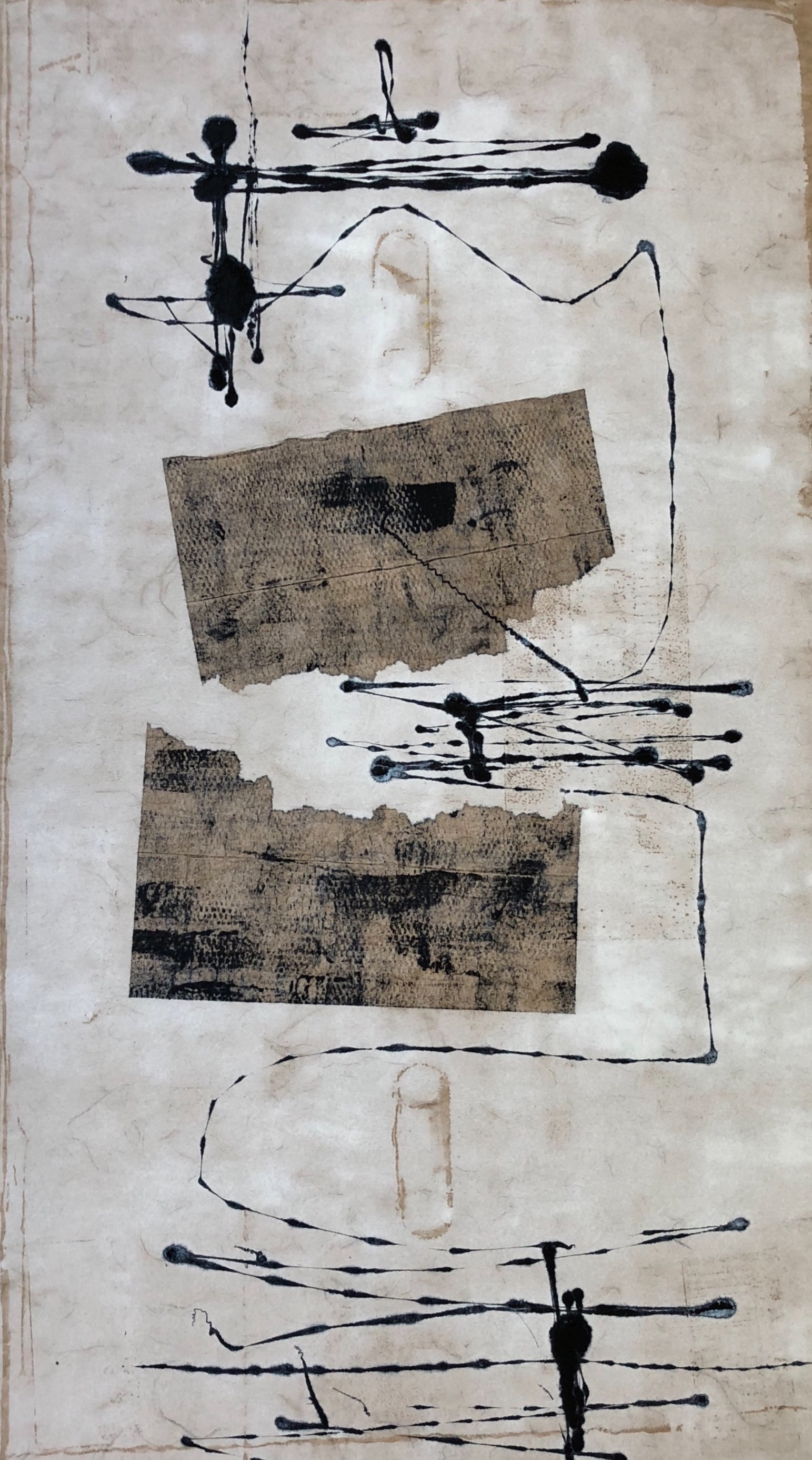 Lost and Found, 2018, monotype on rice paper, 37 x 25 in, SOLD