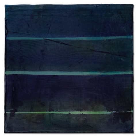 Night Ocean 2, 2019, dyed silk, acrylic, on wood, 12 x 12 in, $1800