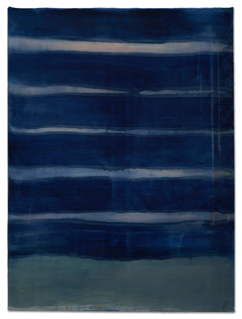 Ocean, 2019, dyed silk, acrylic, on canvas, 30 x 40 in, $6000