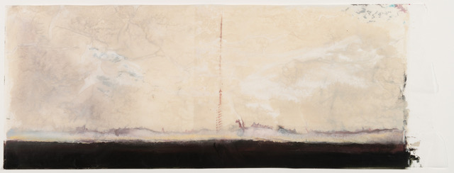 Townline at Fog, encaustic wax on Japanese rice paper, 25  x 56 in, SOLD