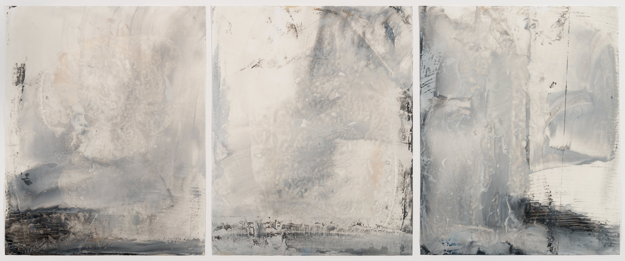 Grey Storm Triptych, encaustic wax, on Japanese rice paper, 26 x 55 in, $4200..jpg