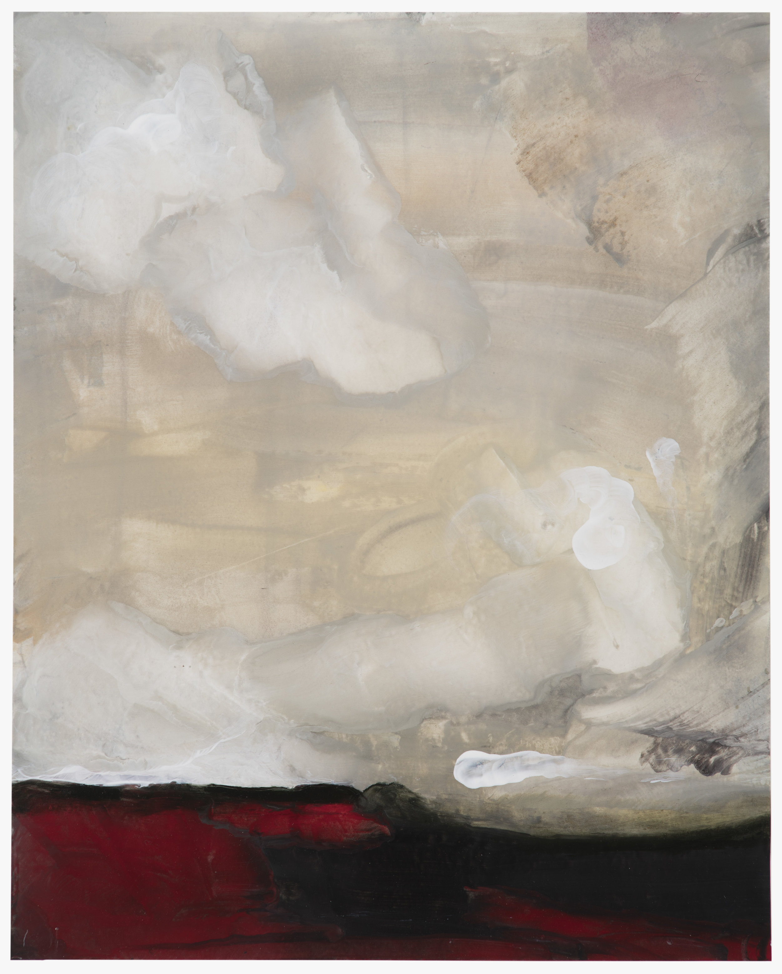 Ditch Plains, encaustic on rice paper, 21 x 25 in, $2800