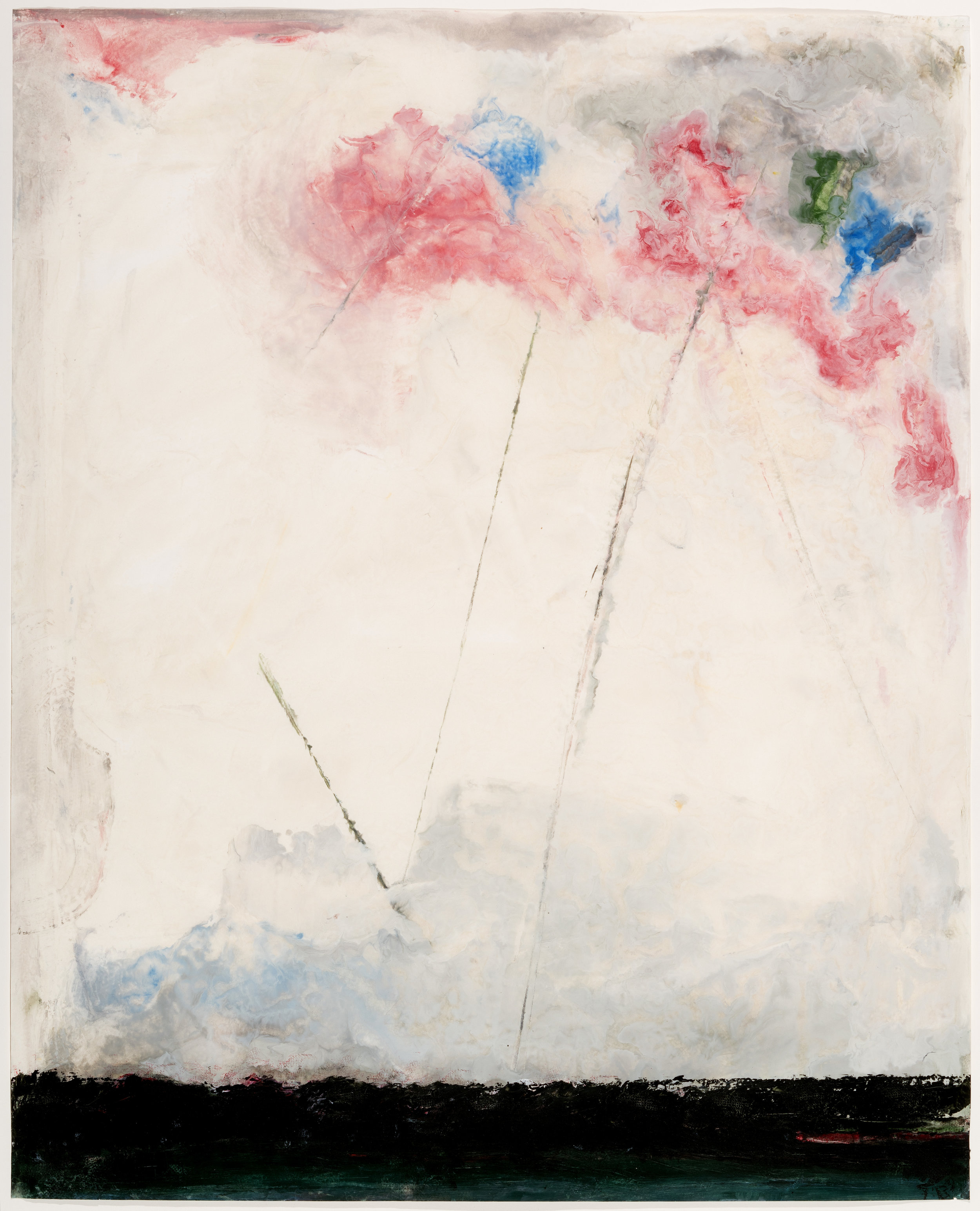 Lolli Pop Flowers, 2018, encaustic on rice paper, 47 x 39 in, SOLD
