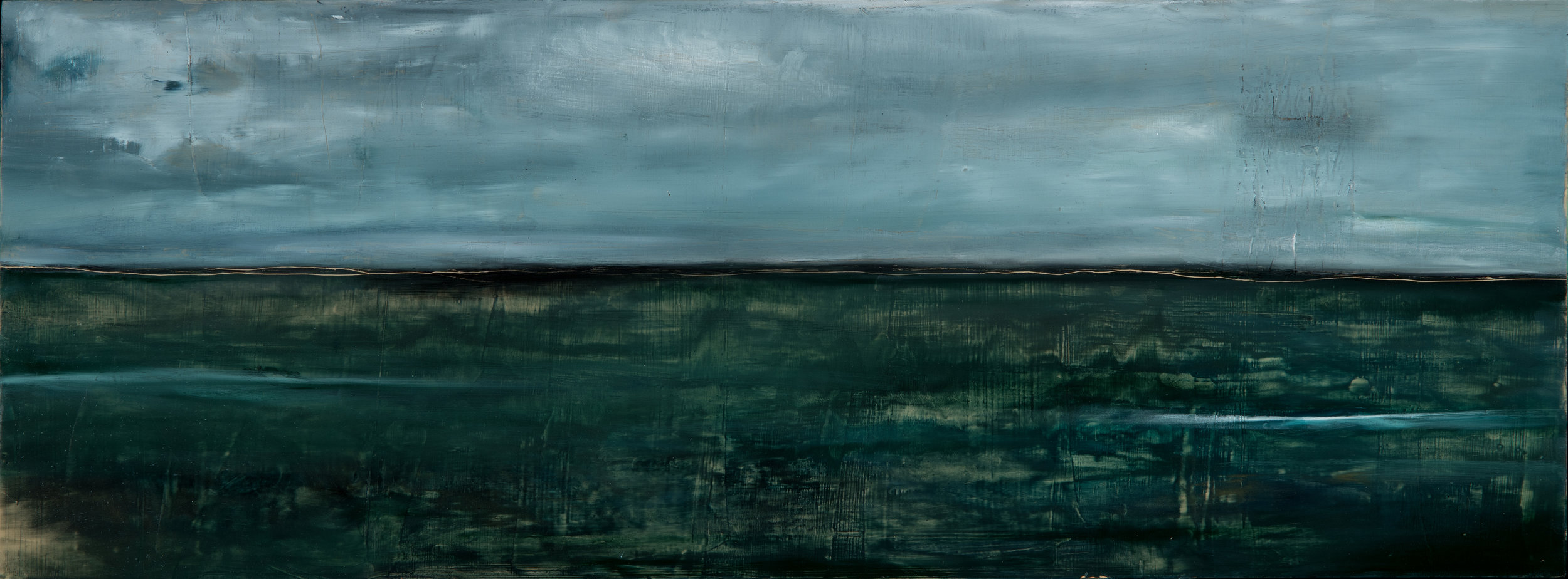 Gerard Drive, 2018, oil stick and encaustic on board, 14 x 35 in, $2,400
