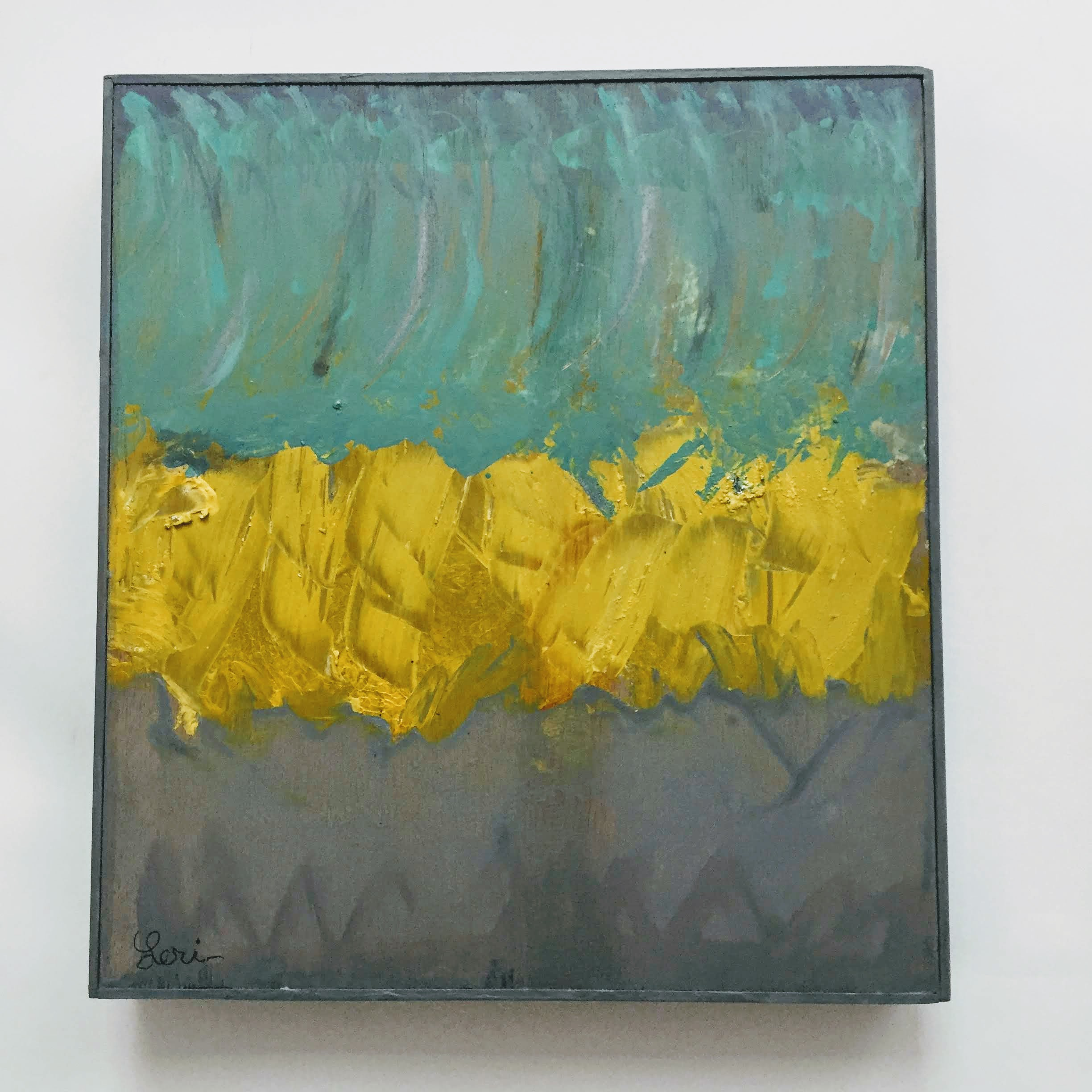 Turquoise and Yellow, 2019, acrylic paint on wood panel, 16x 14 in, $900