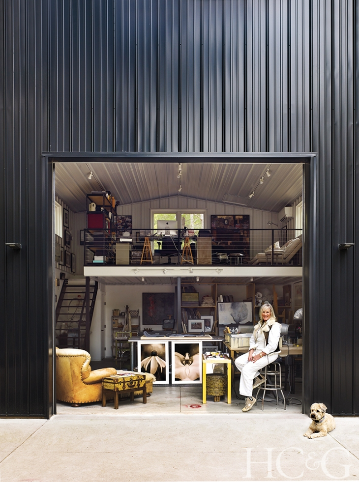 By Coco Myers  Photographs by Peter Murdock  Beth O'Donnell and her dog, Venus, take five outside her art studio, a 600-square-foot prefab structure by Morton Buildings.