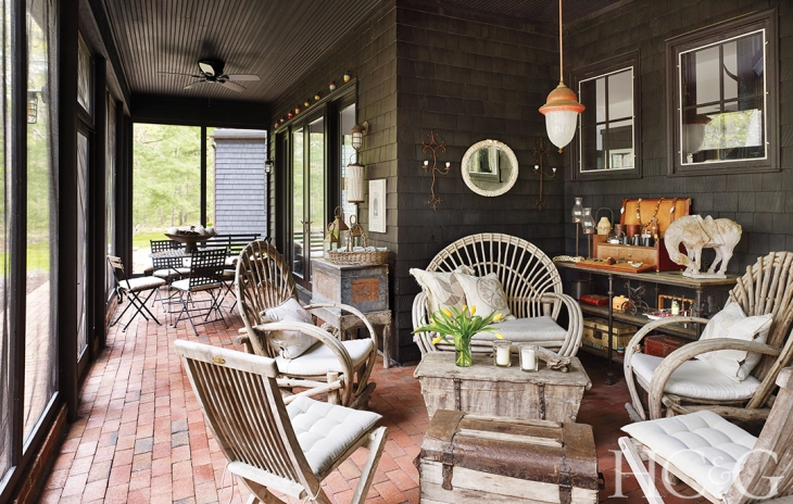 The bent-twig fan-backed chairs on the back porch are from Mexico.