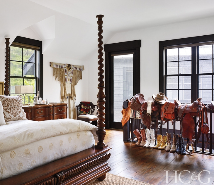 The four-poster in a guest room is from  Ralph Lauren Home .