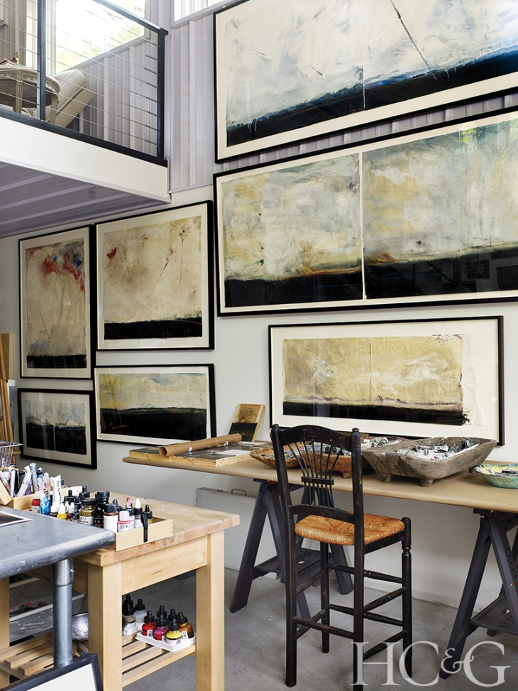 A wall in O'Donnell's studio is dedicated to her latest mixed- media work: encaustic, oil, and ink on Japanese rice paper.
