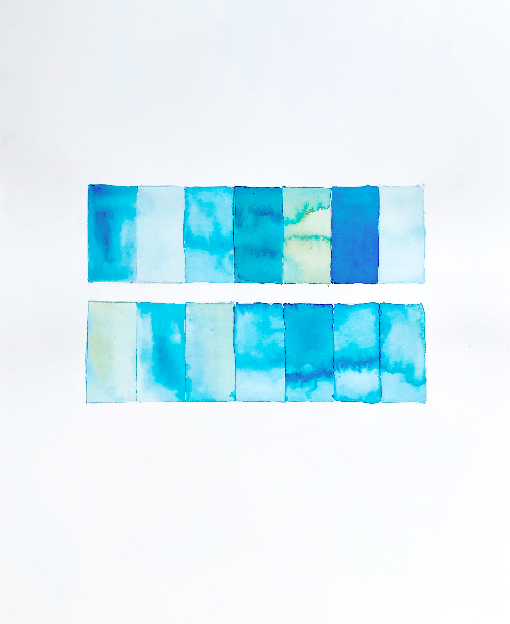 Shades of Blue by Bastienne Schmidt, 2019, mixed media on paper, 16 x 20 in, $3000