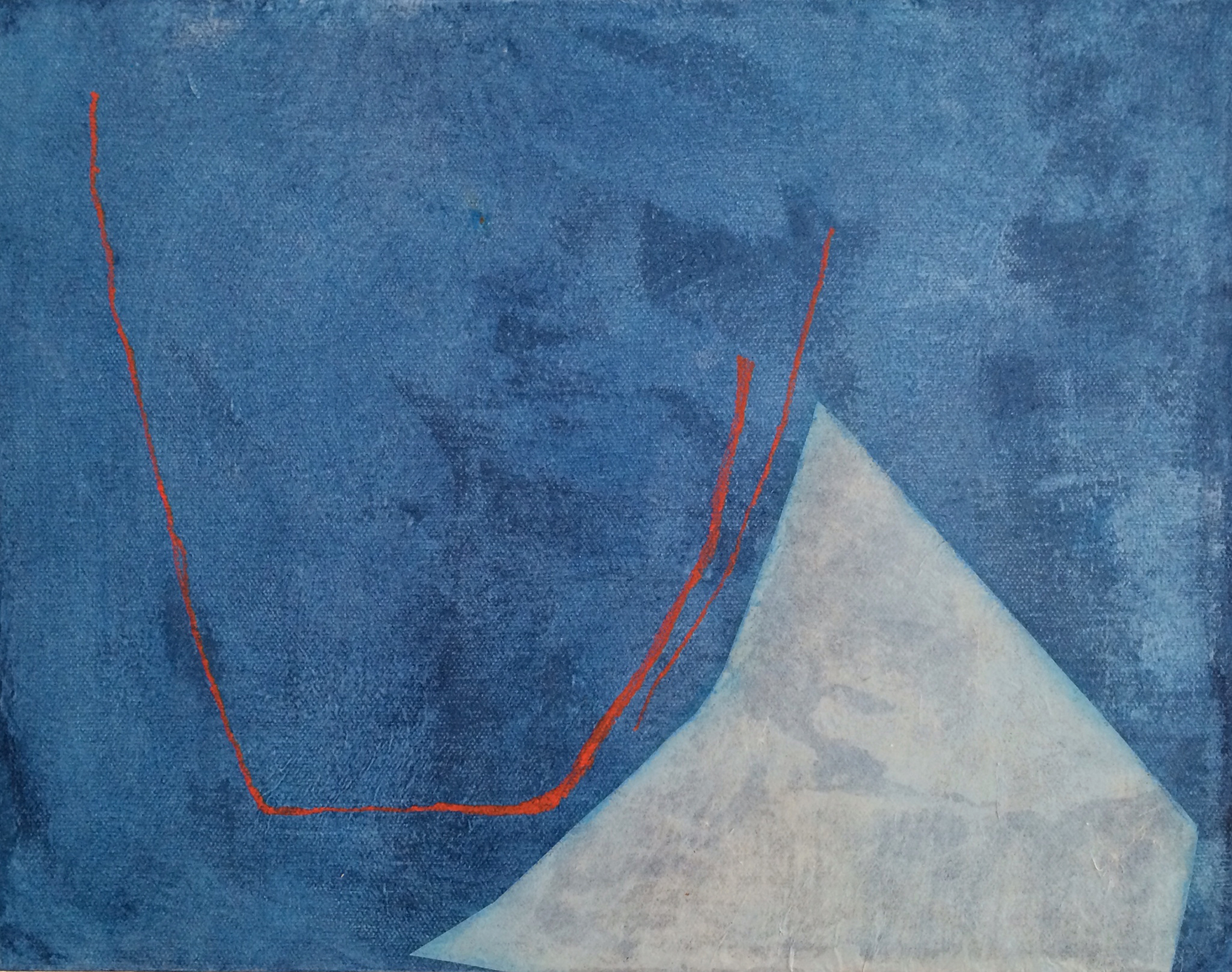 Pale Form on Blue with Red Lines by Diane Englander, 2014, mulberry paper, acrylic and pencil on canvas, 11 x 14 in, $650