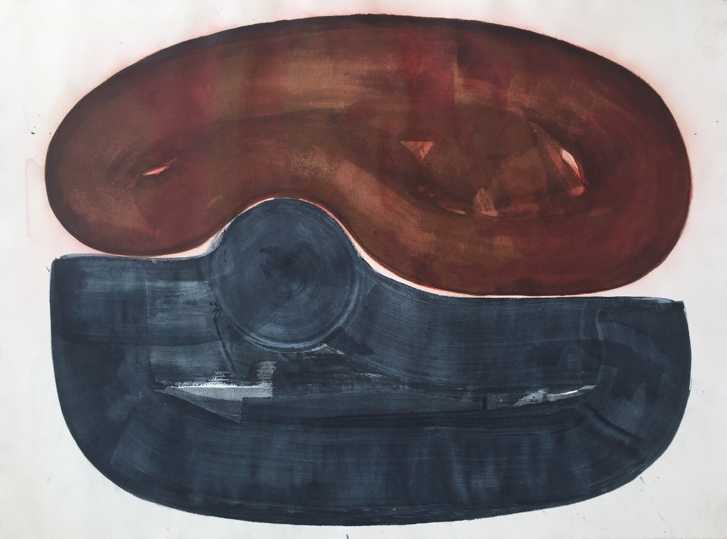 Blue-Grey and Dark Red Untitled #24, ink on paper, 30  x 22 in SOLD
