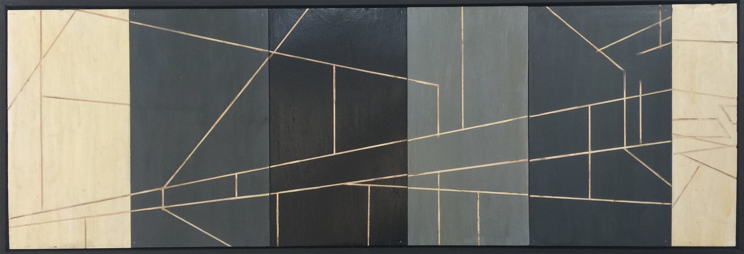 Composition on Panel, 2017, oil on incised board, 49.5 x 175.8 in, $3,200