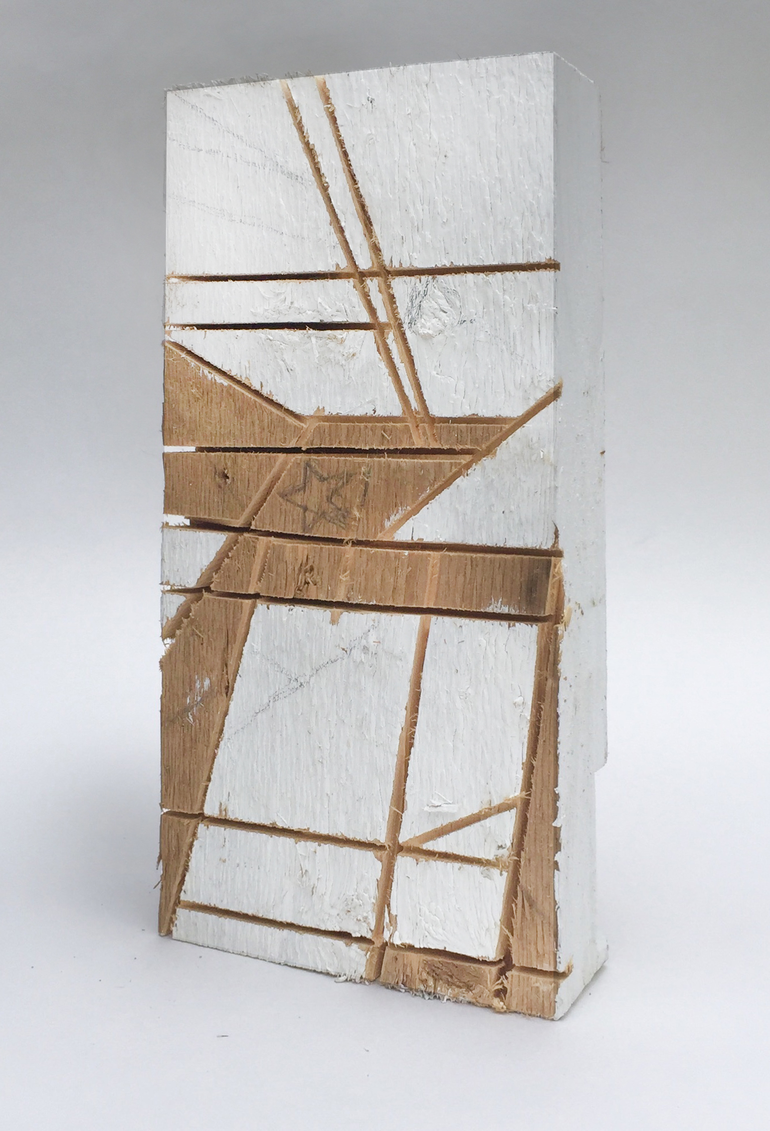 Intersection in White,  2017, house paint on reclaimed lumber, 13 x 6.5 x 2 in, $1100