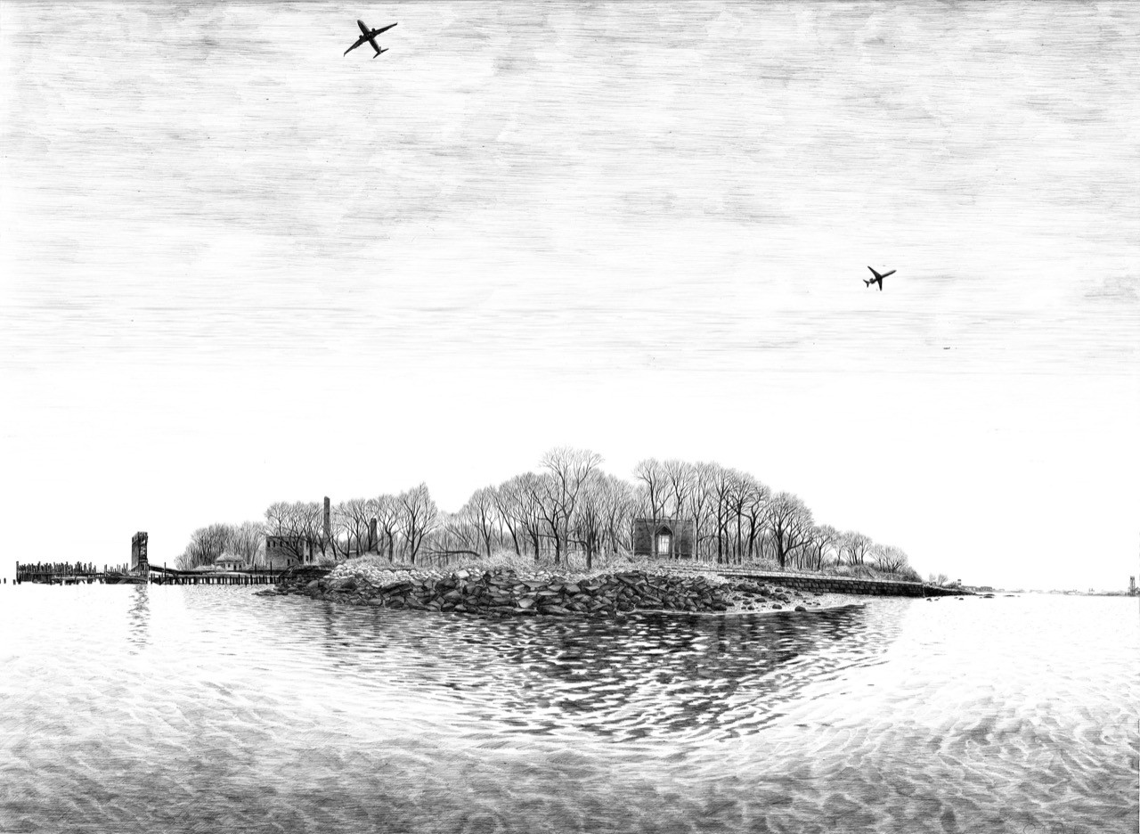 North Brother Island, 2016, ballpoint pen on paper, 33.5 x 50 inches in frame