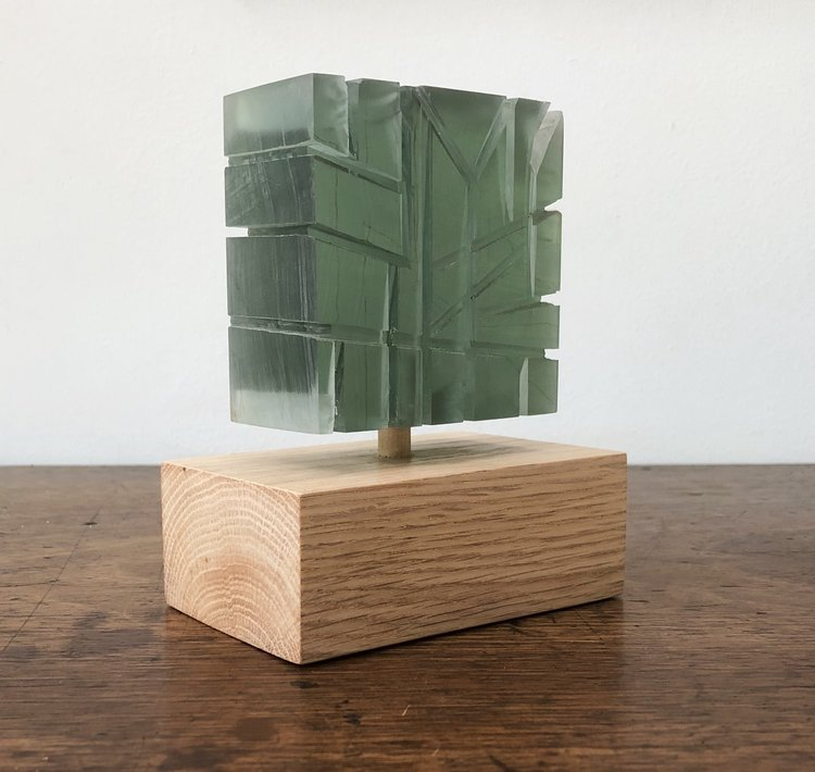 Green Room by Aurelio Torres, 2019, acrylic and reclaimed lumber, 5.5 x 4 x 2.5 in, $600