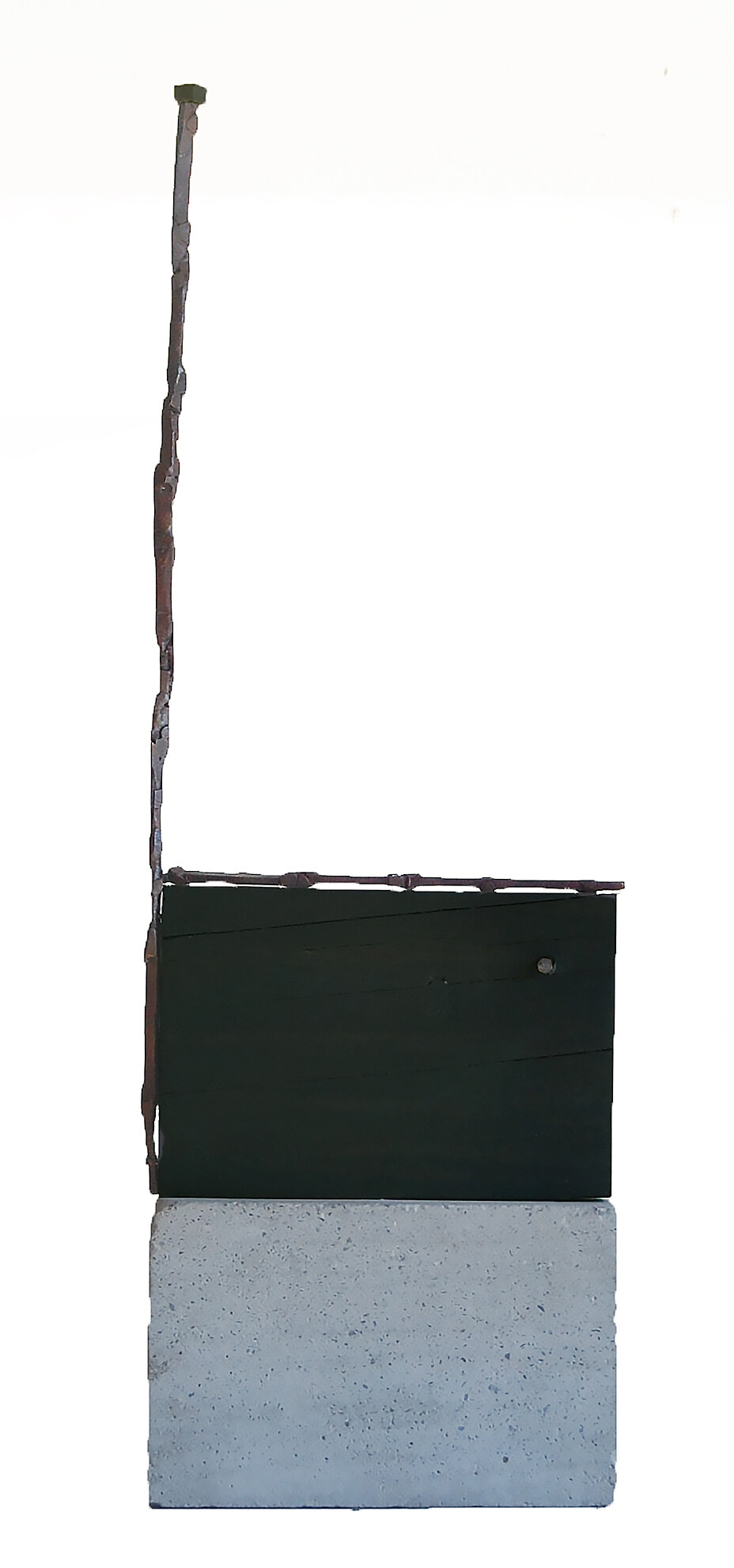 The Switch, 2019, bronze, wood, cement, 19 in, $4000