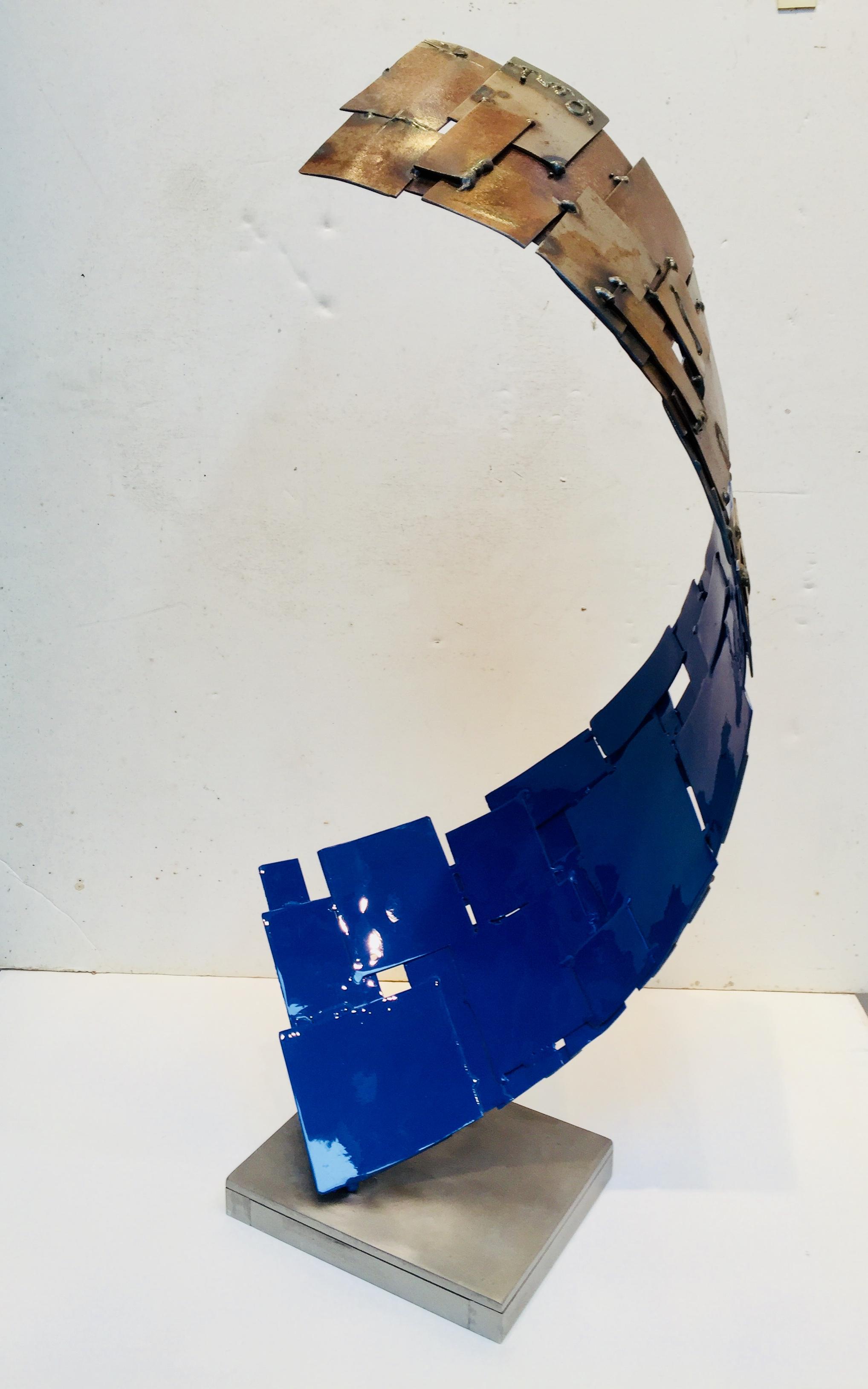 Blue Curl, 2018, painted welded steel, 24 x 12 x 13 in, $7,000