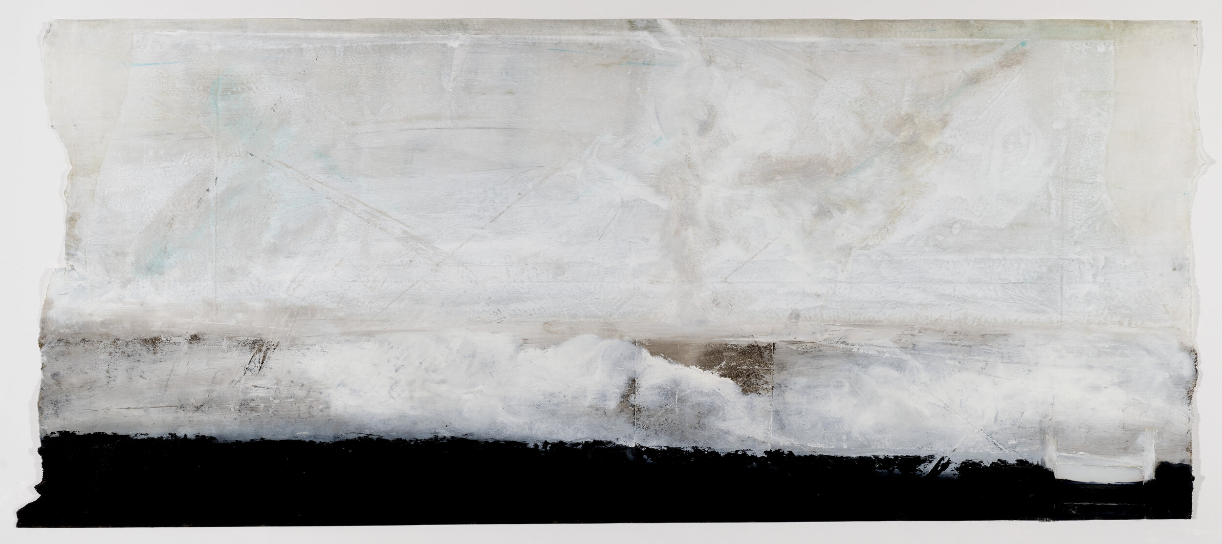 Polaroid Wave, 2019, encaustic wax on Japanese rice paper, 32 x 56 in, $5,000