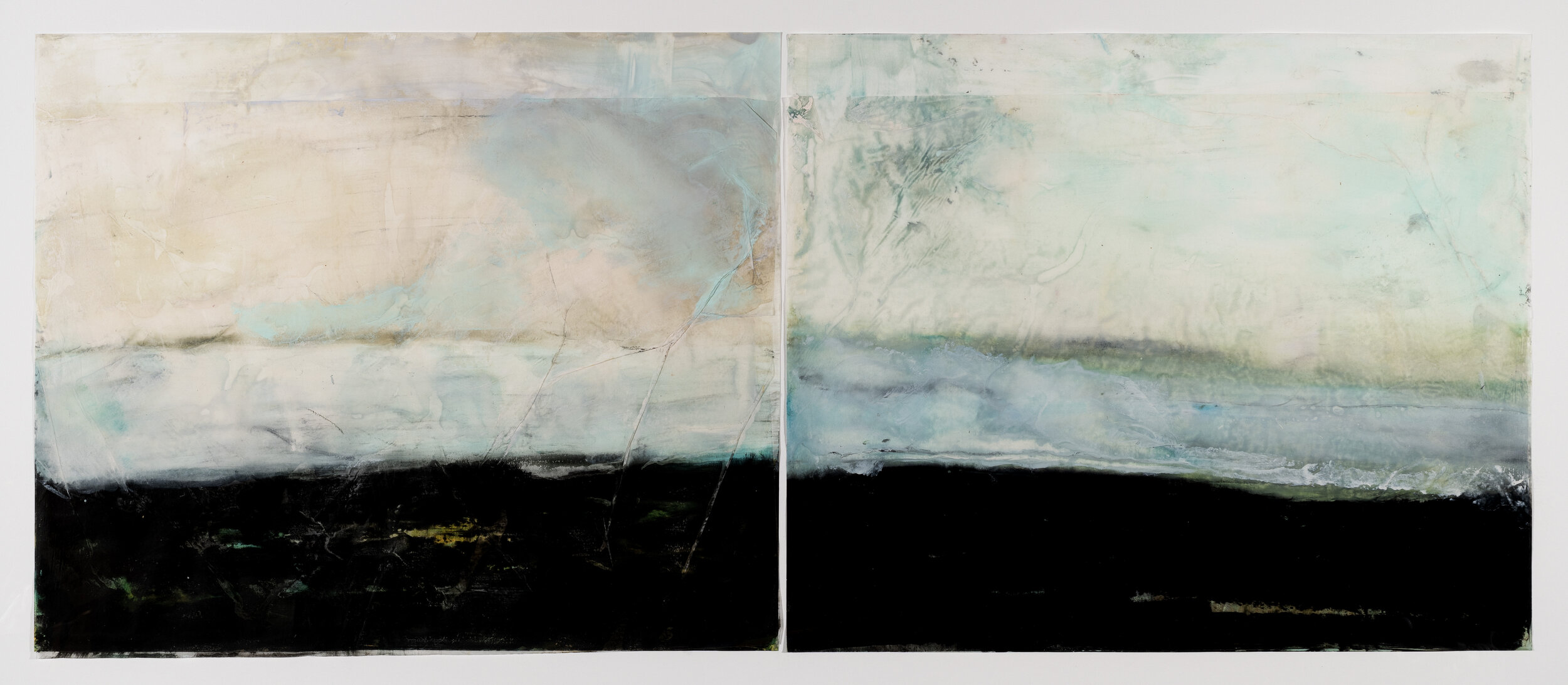 Old House Beach, 2019, diptych, encaustic wax on Japanese rice paper, 32 x 56 in, $5,000