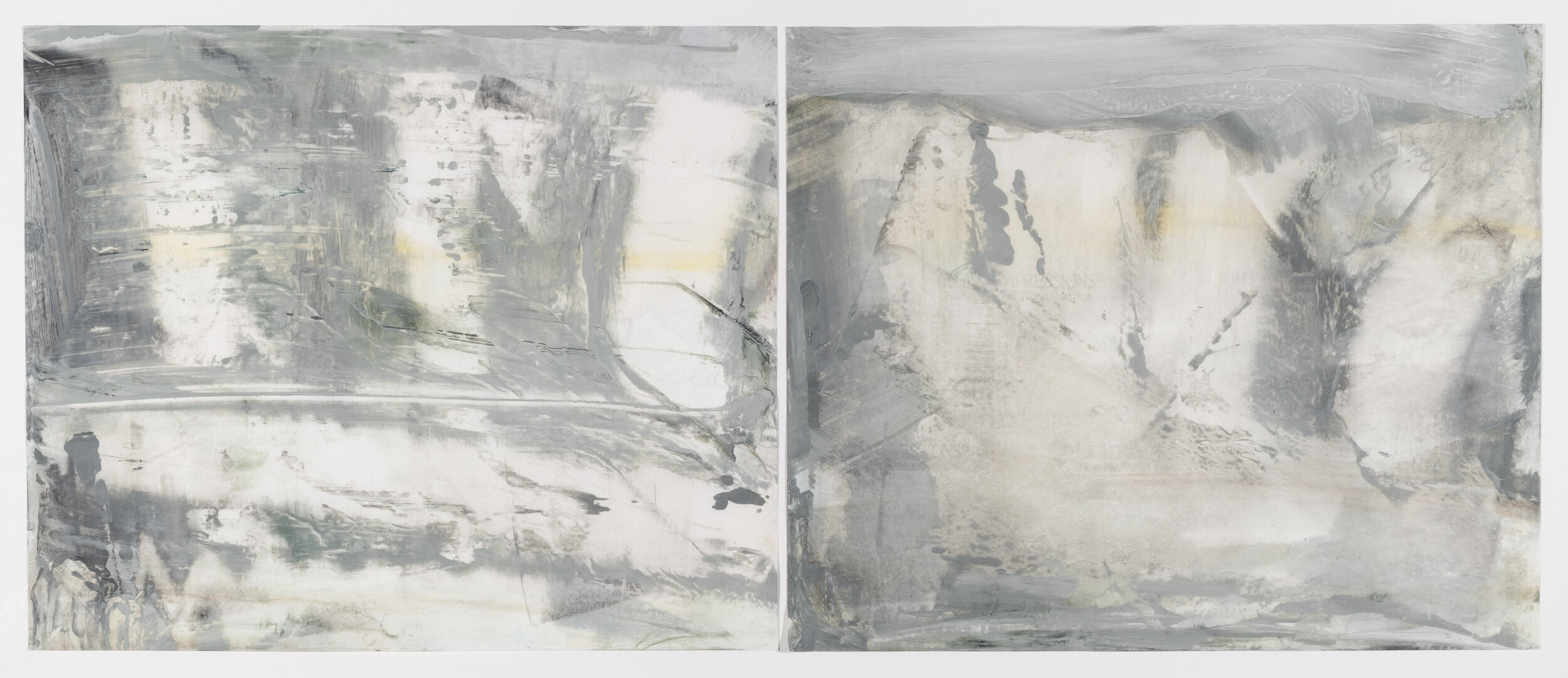 Wyborg, 2019, diptych, encaustic wax on Japanese rice paper, 32 x 56 in, $5,000