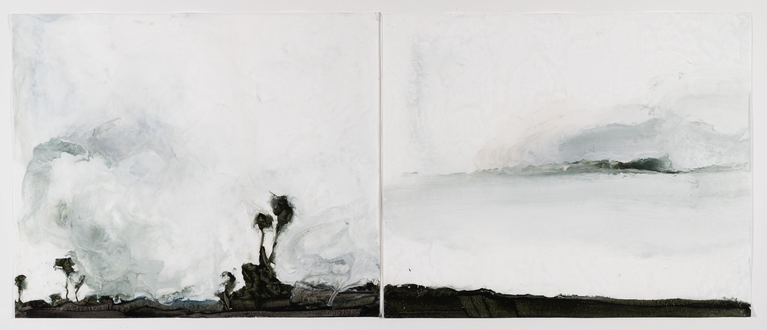 Gardiner's Island, 2019, diptych, encaustic wax on Japanese rice paper, 32 x 56 in, $5,000
