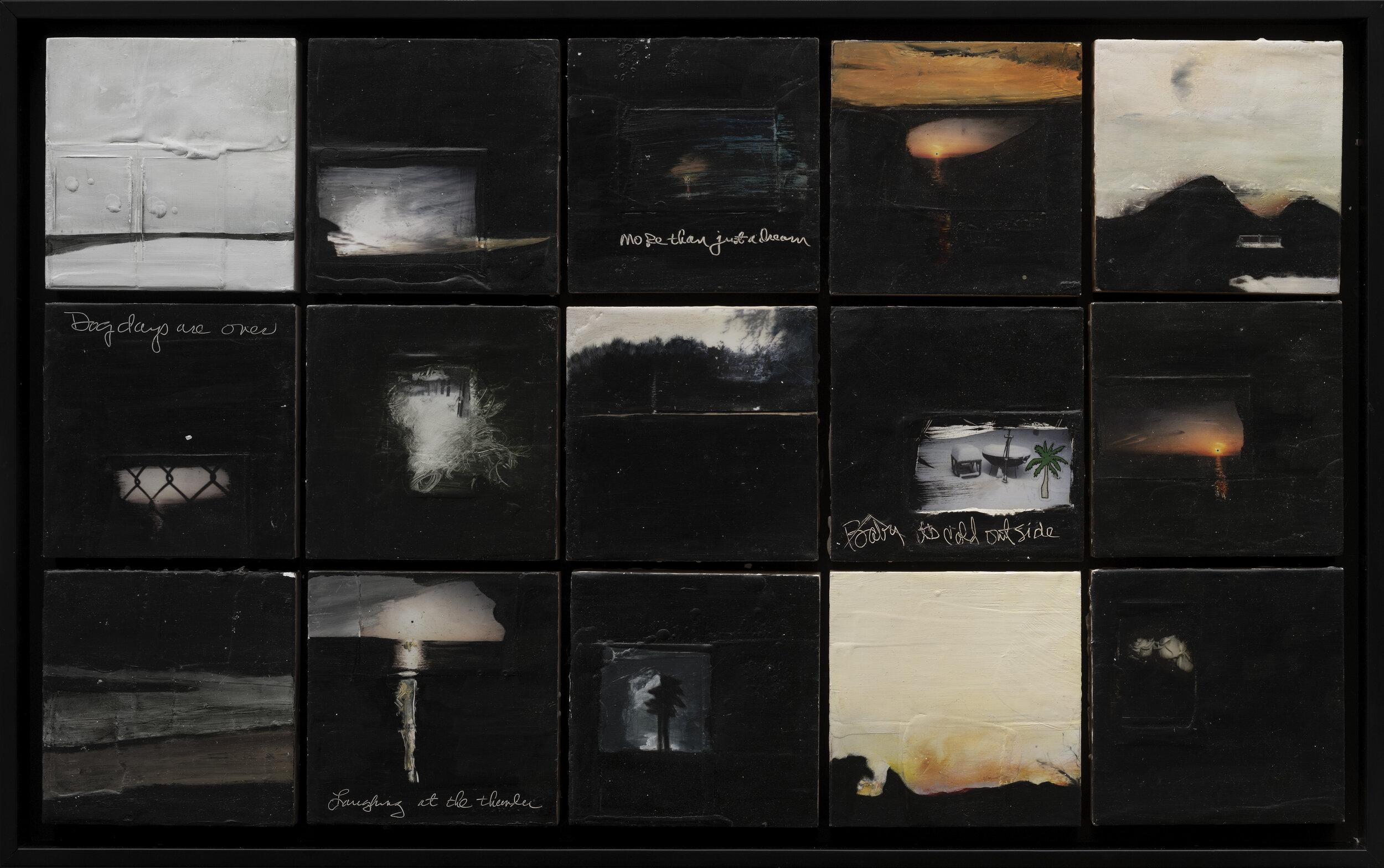 15 Seasons in the Hamptons, 2016,  polaroid, encaustic wax, oil stick on panel, 20 x 32 in, $3,200