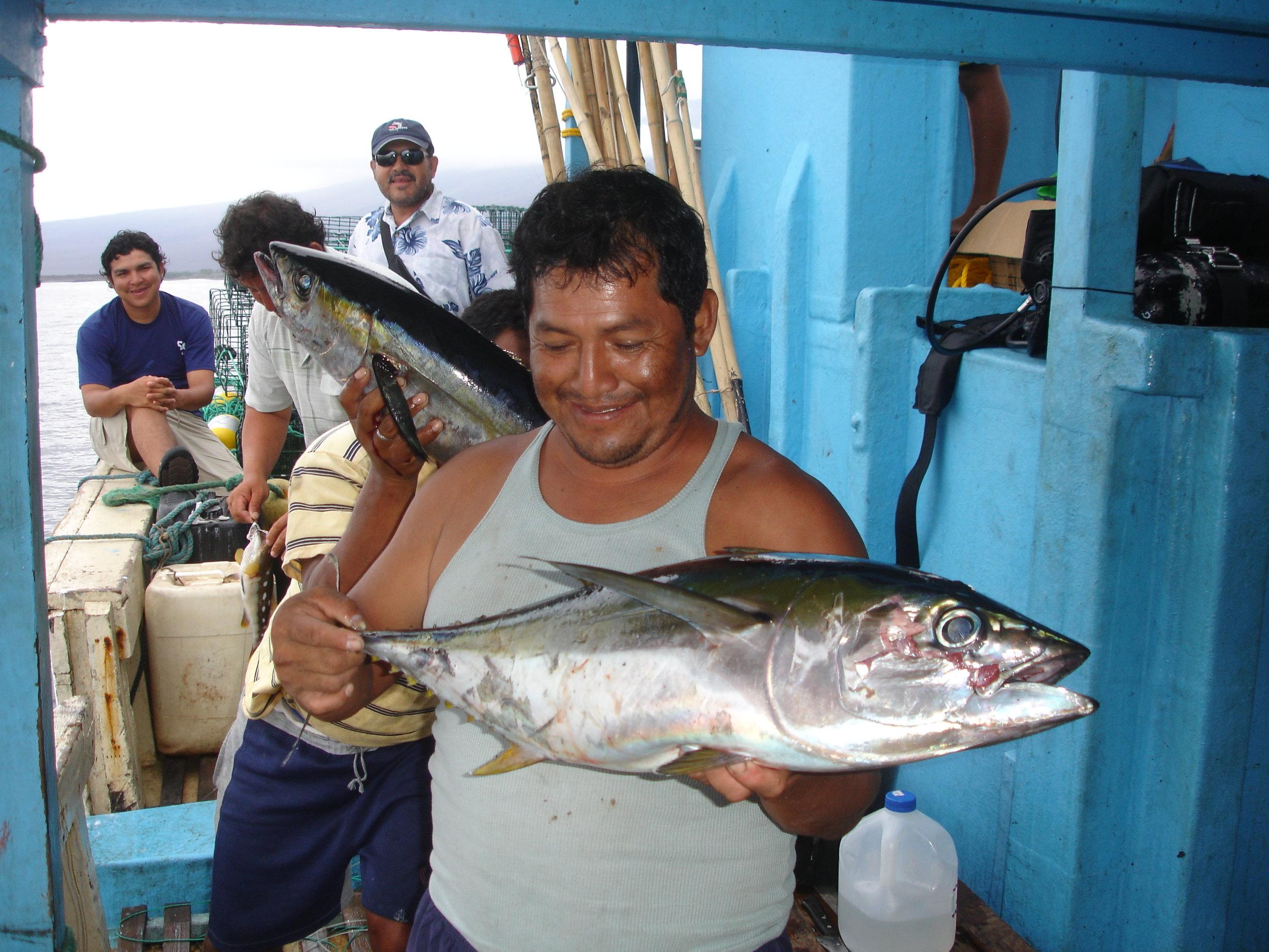 Figure 1.  A Galapagos artisanal fisherman holding a yellowfin tuna. Photo: Mauricio Castrejón