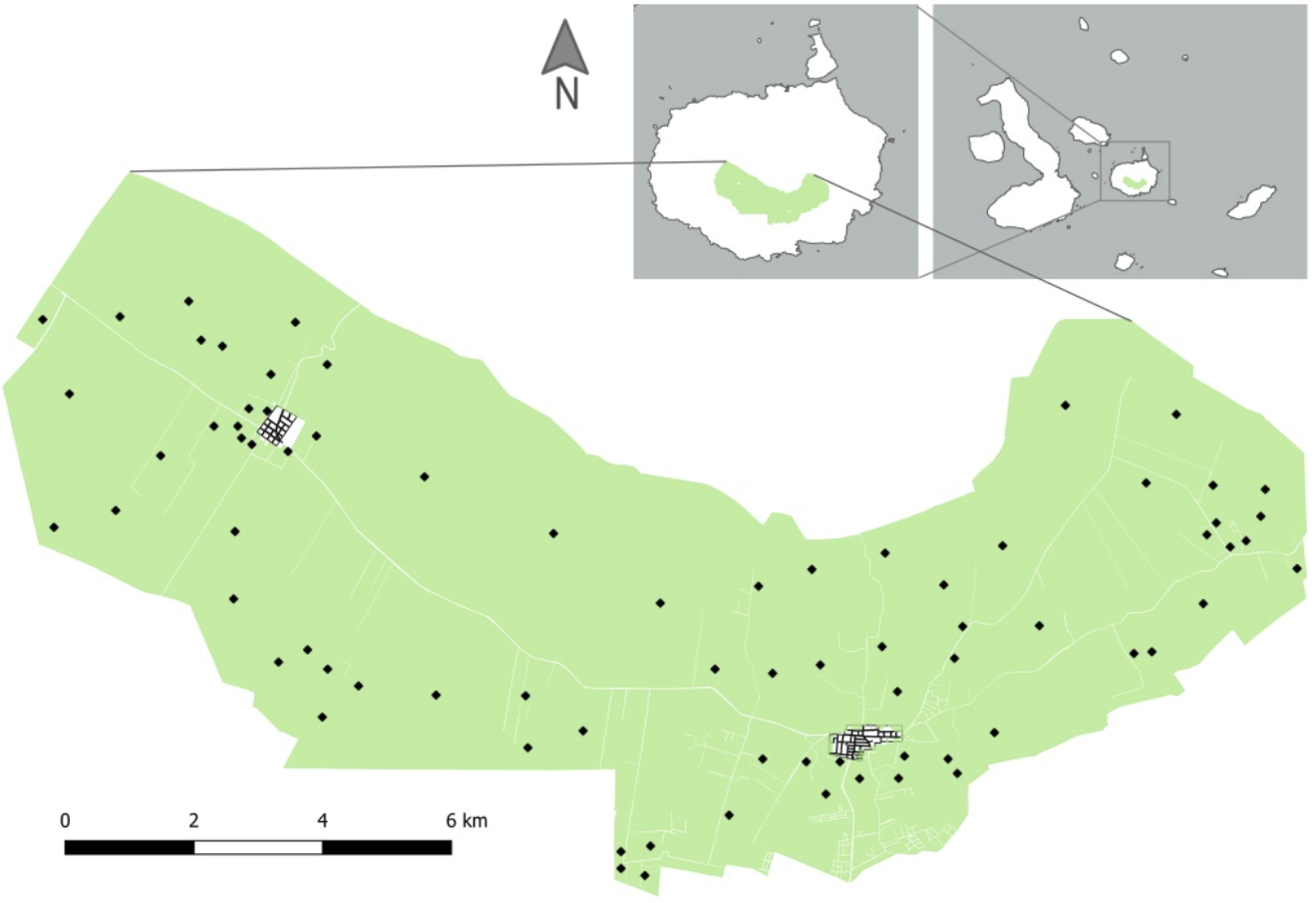 Figure 2.  Location of the agricultural zone on Santa Cruz Island and of Santa Cruz Island within the Galapagos Archipelago. The 73 interview locations are indicated by black diamonds. Map: Carolina Carrión and Claudio Crespo.  Click to enlarge.
