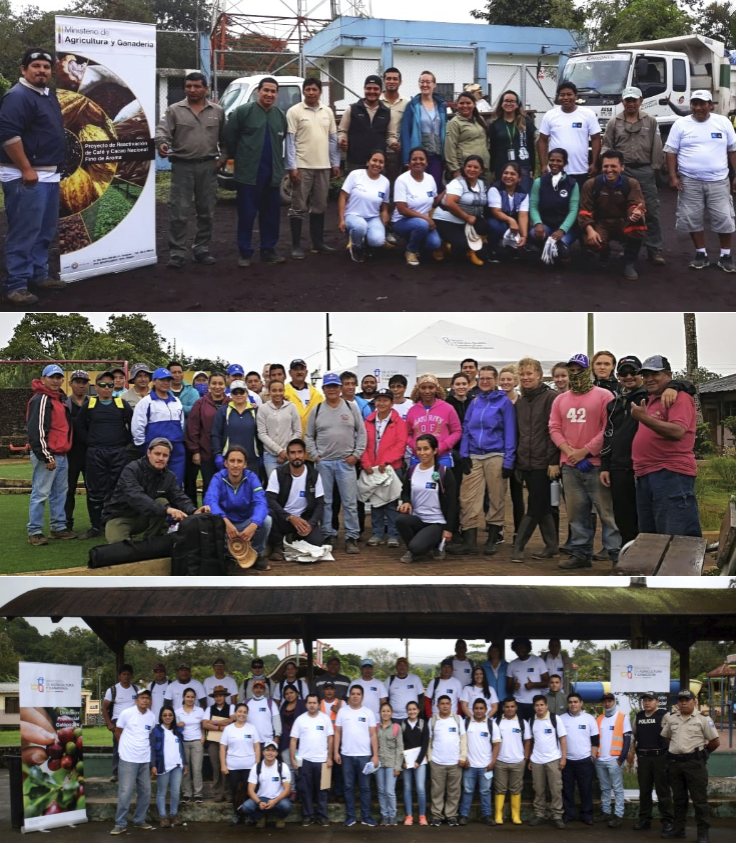 Figure 6 . Participants in the minga on San Cristóbal (left), Isabela (right) and Santa Cruz (top). Photos: Ministry of Agriculture and Livestock (San Cristóbal and Isabela) y Carolina Peñafiel (Santa Cruz)