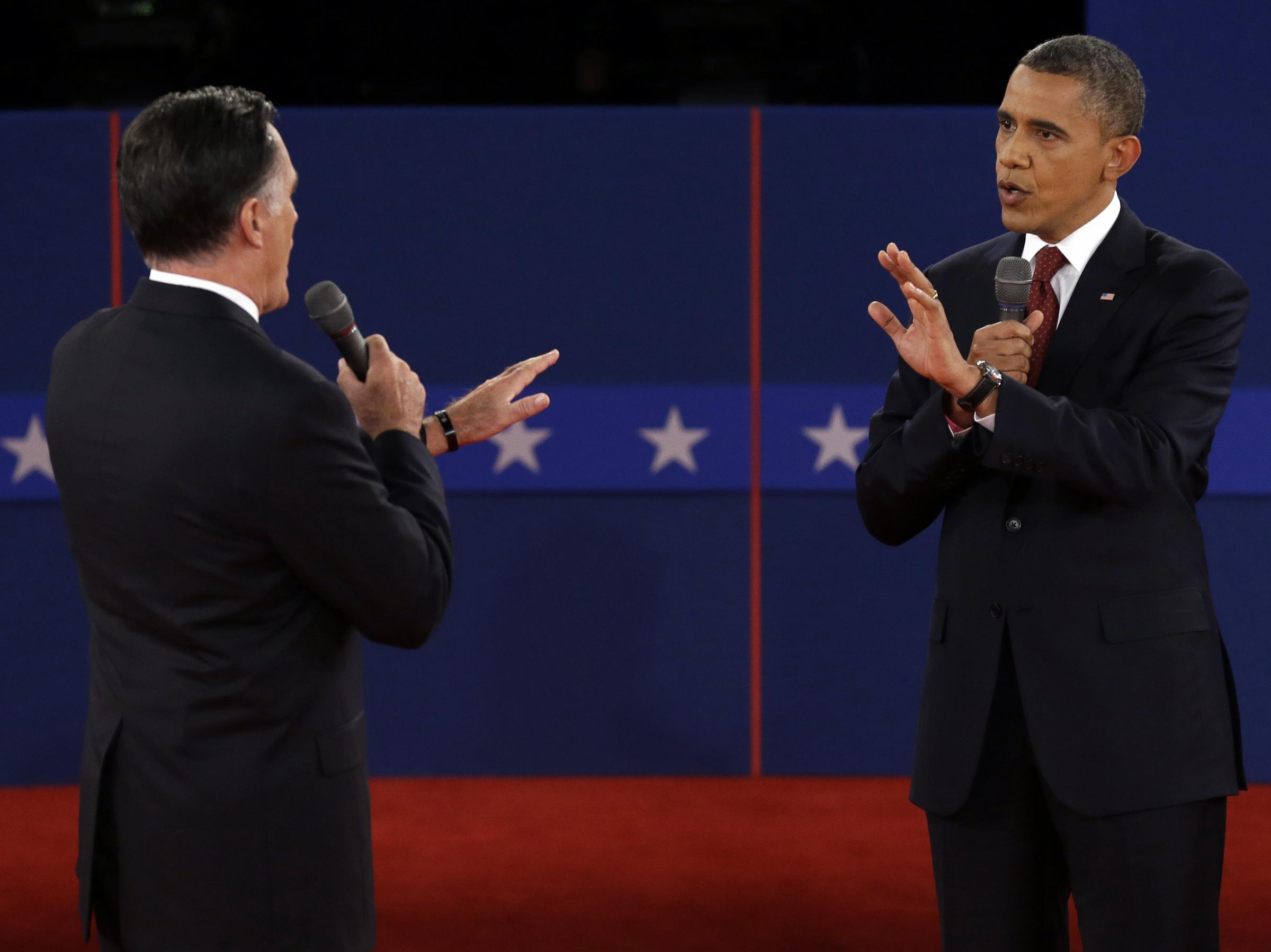 Gov. Mitt Romney, R-MA and Sen. Barack Obama, D-IL complete the second Presidential Town Hall Debate at Hofstra University.