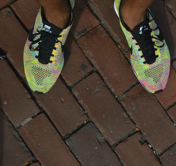 My Nike Flyknit Racers in the multicolorway
