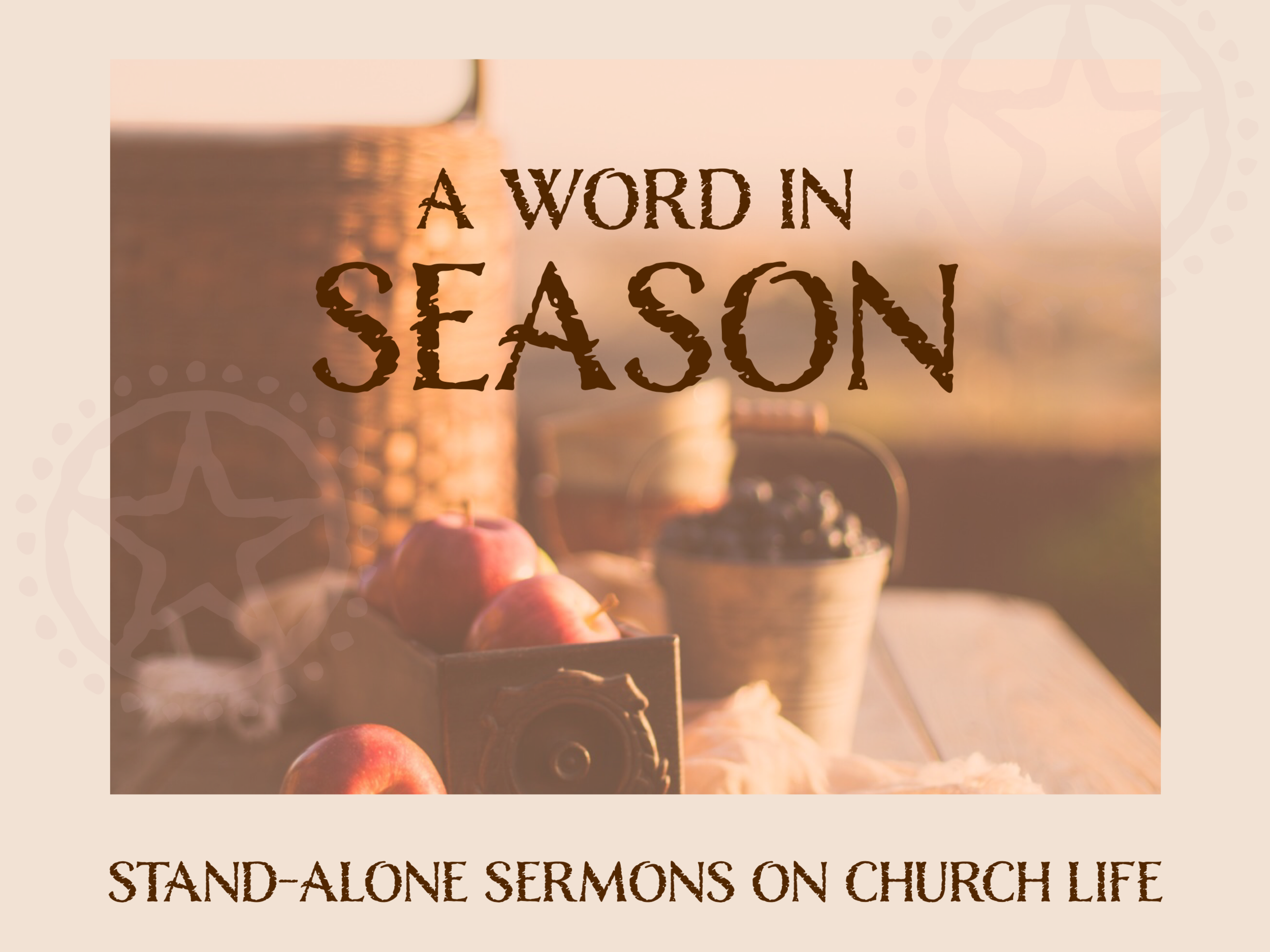 Single Sermons - Sometimes in church life we break from our book series to talk about something important for the moment we're in or to celebrate a Holy Day. You can find those sermons here.