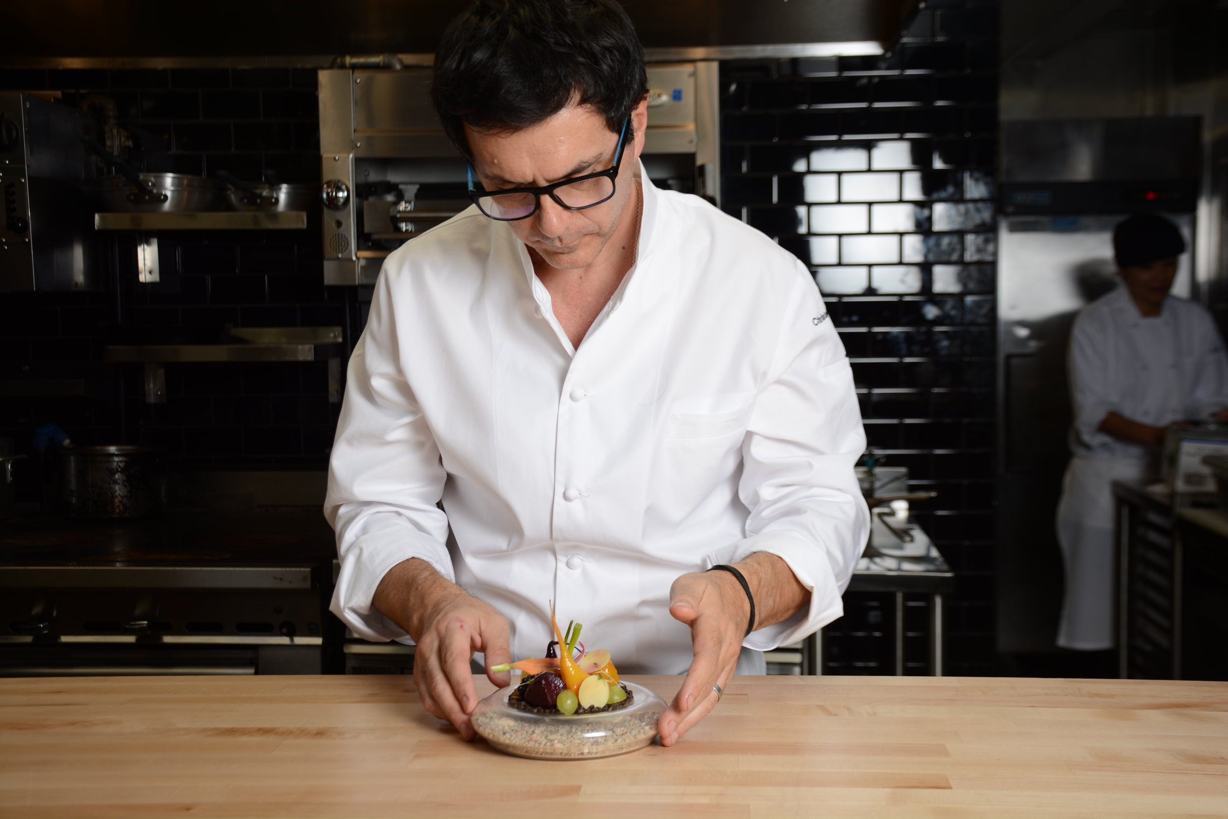 "Christophe Émé - ""When you have an open kitchen, you have to be more mellow. And with only four people and a smaller menu, it's not so much stress. The job isn't just to cook, but to make sure everyone is happy. Here, I'm happy."""