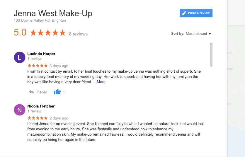 Please visit google to scroll through more reviews. Type in Jenna West Make Up on Google :)