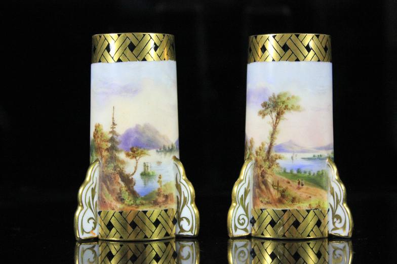 Pair of Coalport Rocket Vases with Lakeland View circa 1880