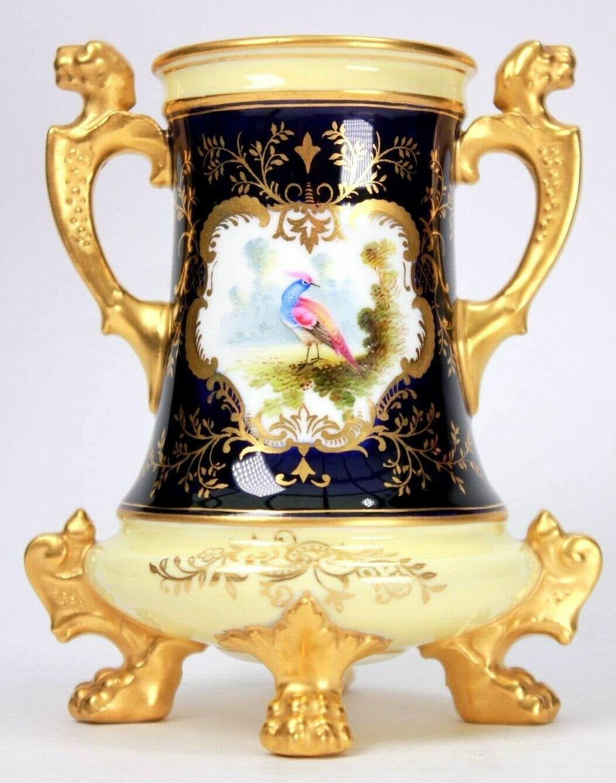 Antique Coalport Vase Lion Paw Footed Exotic Bird of Paradise Circa 1900.jpg