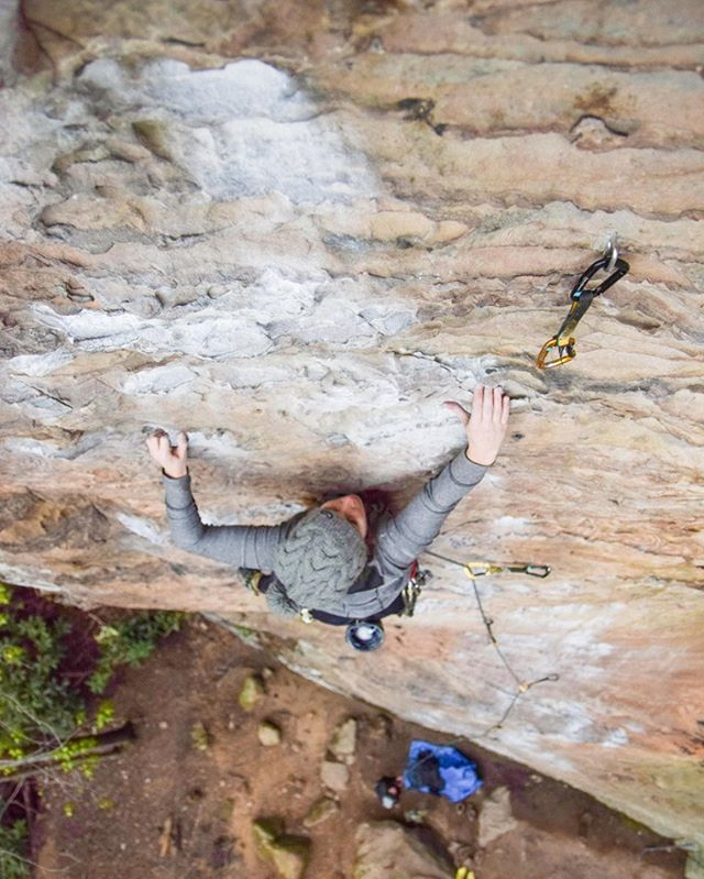 @roarkfitness took this photo of me two weekends ago in Kentucky.  Third time on To Defy the Laws of Tradition (10a). Beautiful, classic route.  Also, @arcteryx posted one of Jenny's other photos, so congrats to my friend for being such a great climbing photographer!