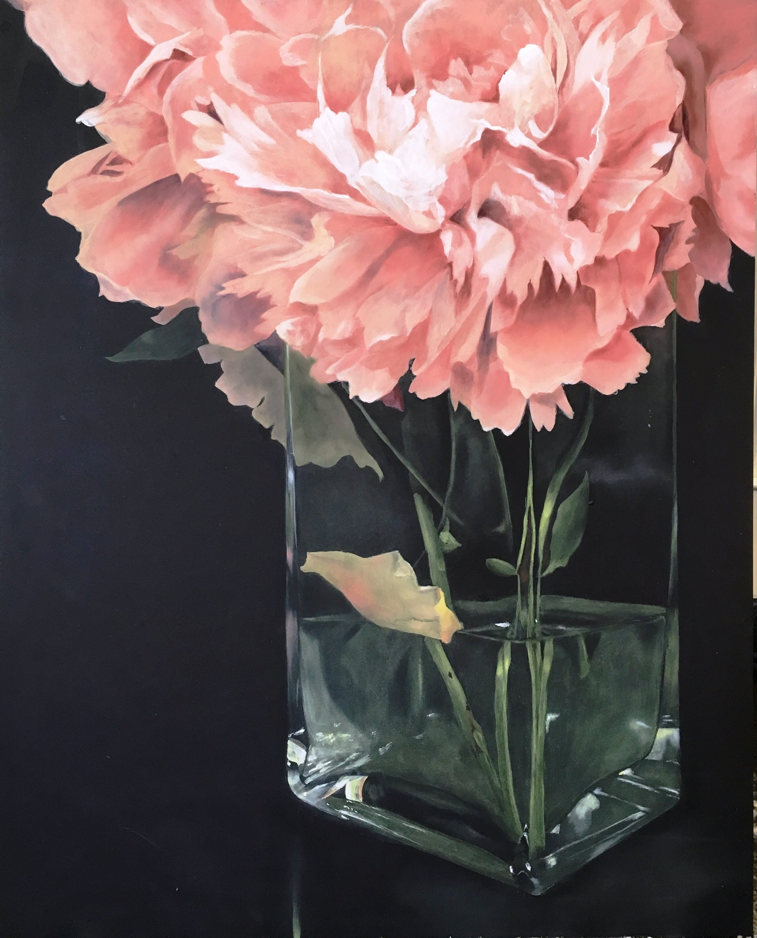 I painted this from peonies that i picked at a friend's house and brought home and put in a vase. For me, painting the glass vase was much more interesting than the flowers, haha.