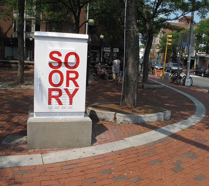 """""""SORRY,"""" Switchbox Project, Davis Square, Somerville MA, 2015 and ongoing.    A public reminder to apologize for everthing ahead of time."""