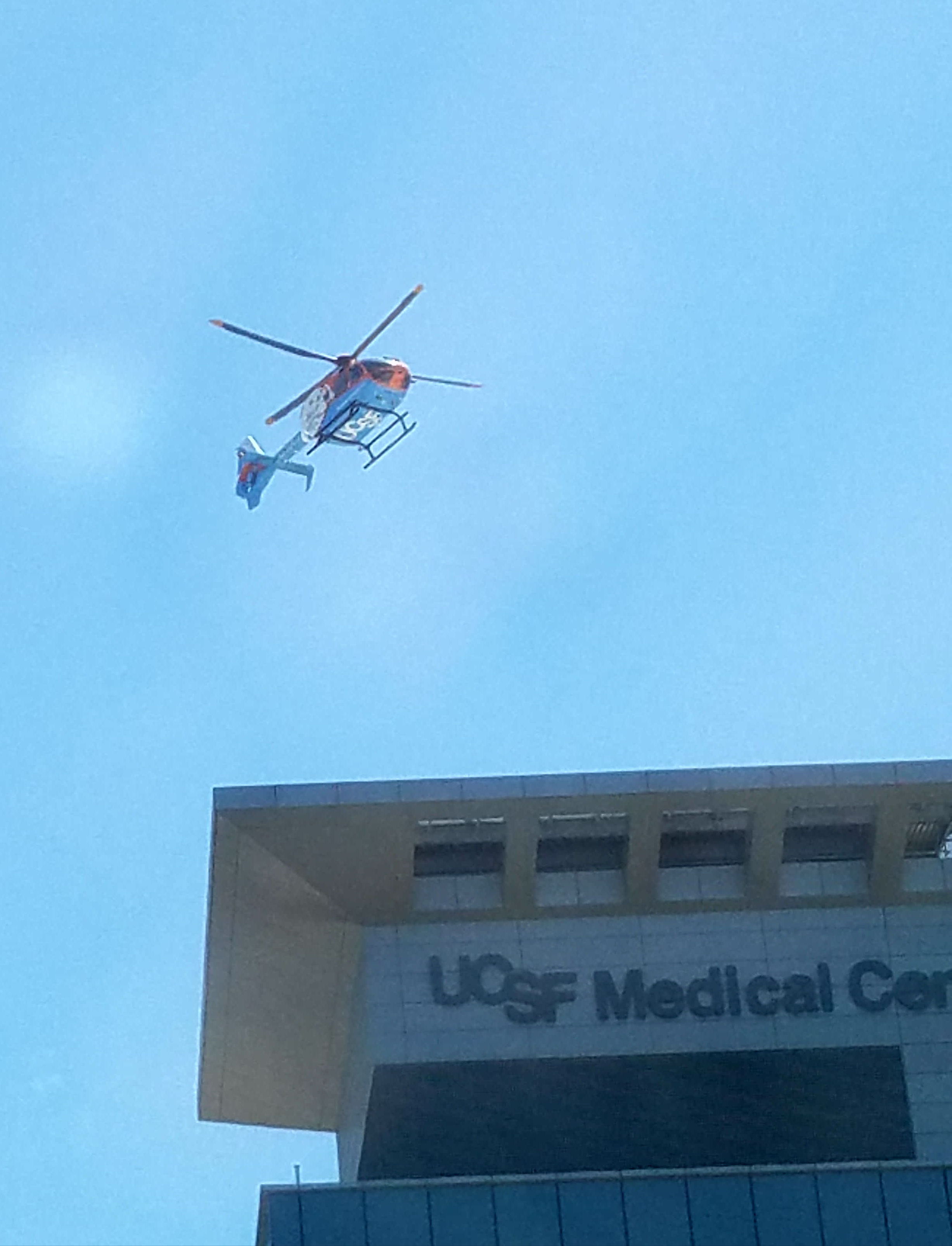 UCSF Medical Center and Children's Hospital across street from Chase Center arena.