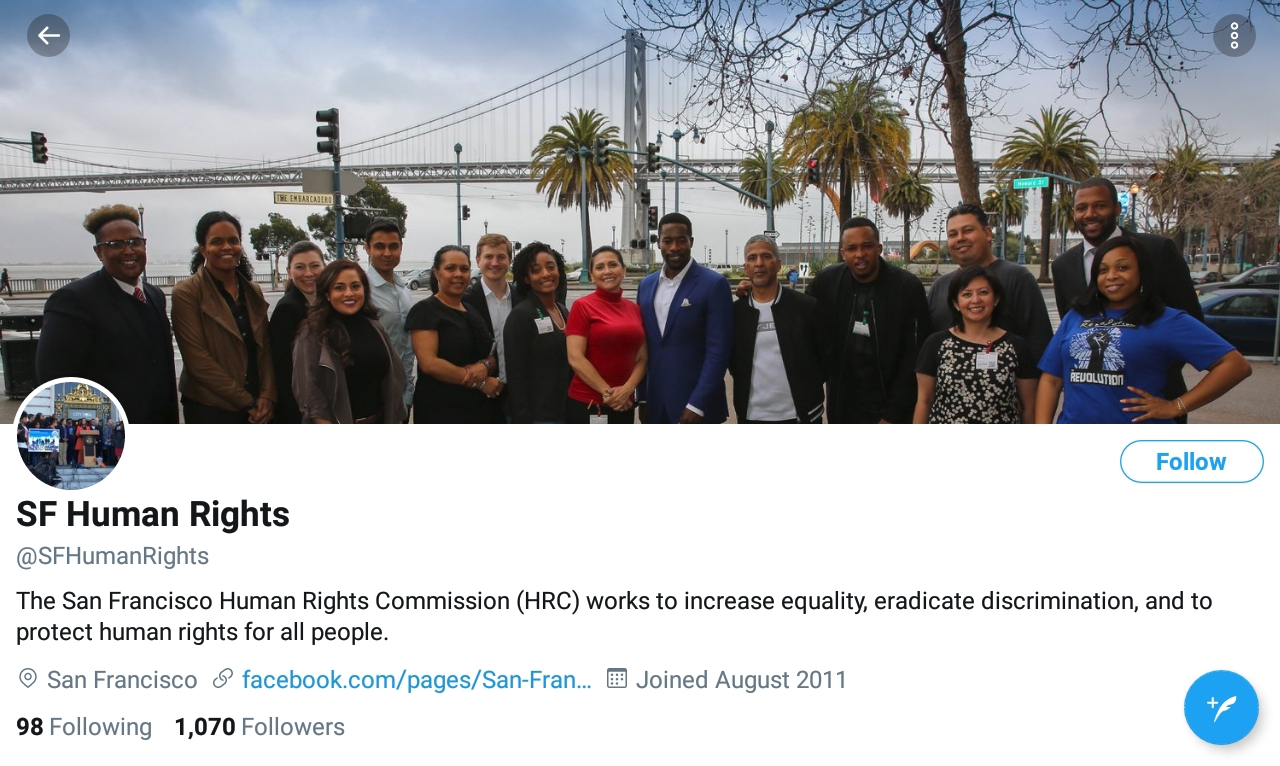 Twitter photo of San Francisco Human Rights Commission