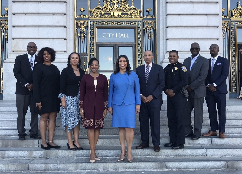 2018 Twitter photo of SF Mayor London Breed flanked by other Black SF officials