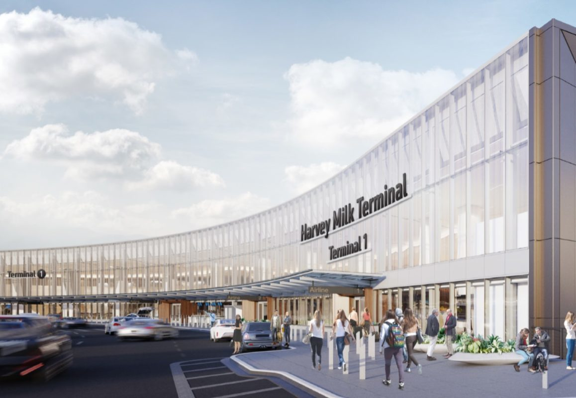 """One option presented Monday from the """"Terminal 1: The Harvey B. Milk Terminal Exterior Signage Study."""" (One option presented Monday from the """"Terminal 1: The Harvey B. Milk Terminal Exterior Signage Study."""" (Courtesy SFO)"""