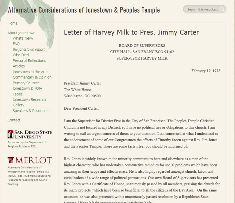 Copy February 19, 1978 letter from Harvey Milk to President Jimmie Carter defending Jim Jones