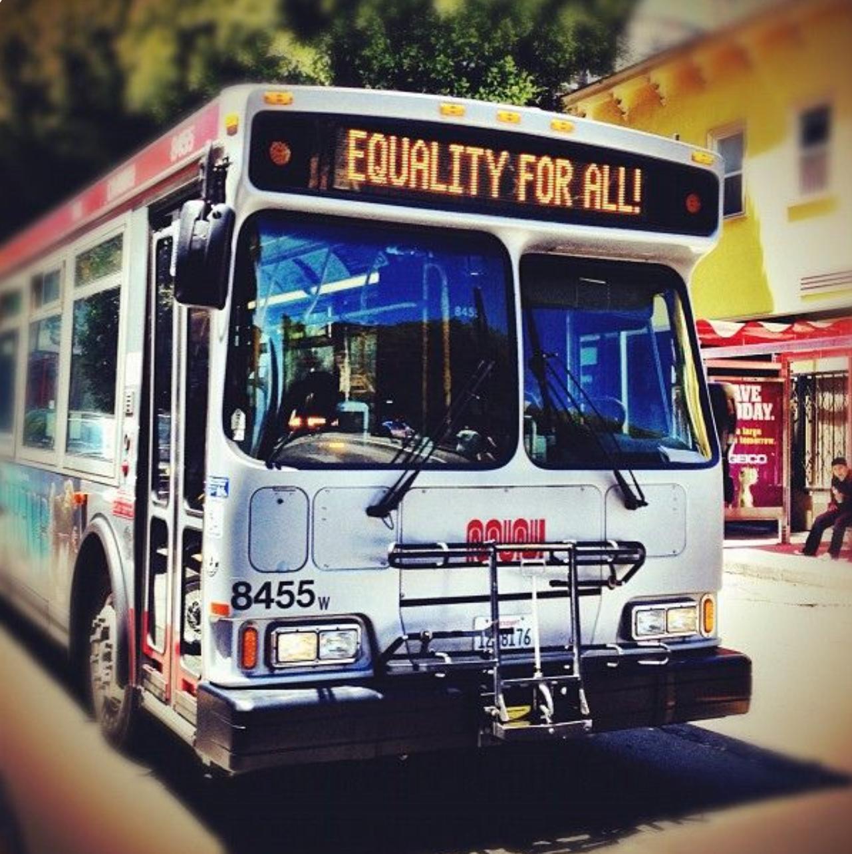 "San Francisco public transit ""MUNI"" bus"